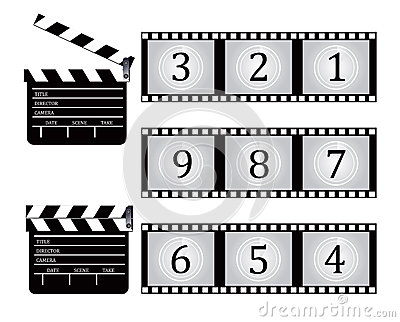 Clapboard and Film countdown