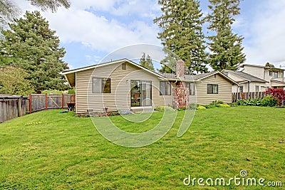 Clapboard siding house with fenced backyard