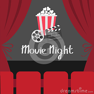 Free Clapper Board Movie Reel Popcorn. Open Luxury Red Silk Stage Theatre Curtain. Velvet Curtains With Bow. Seats Hall. Film Screen. M Royalty Free Stock Images - 97208849