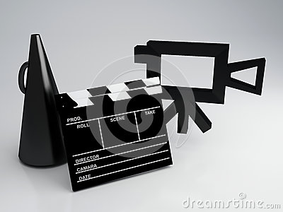 Clapper board and old camera 3d illustration
