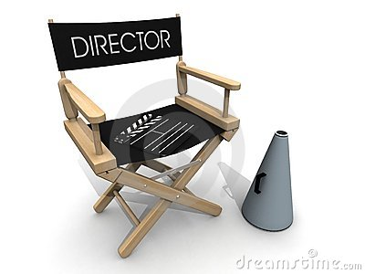 clapperboard over director chair break