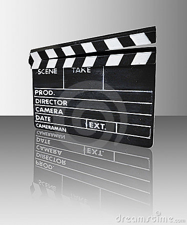Clapperboard with reflection