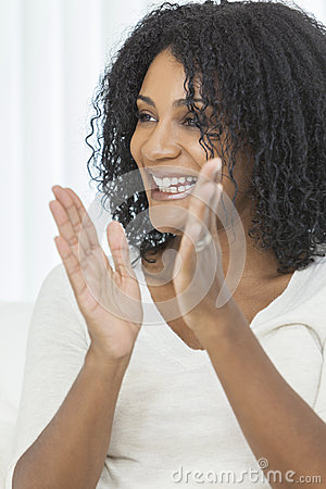 Clapping African American Woman Smiling Laughing