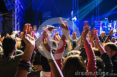 Clapping hands at concert Editorial Stock Photo