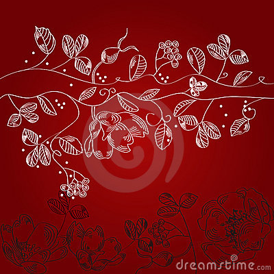 Claret background with white flowers