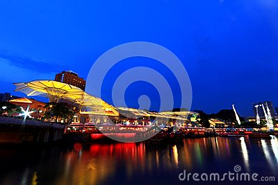 Clarke Quay in the evening Editorial Stock Image