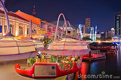 Clarke Quay Night at Singapore Editorial Photography
