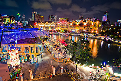 Clarke Quay Night at Singapore Editorial Photo
