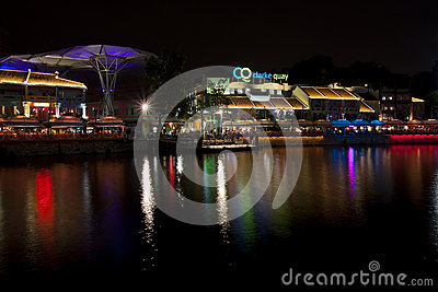 Clarke Quay riverside point at night Editorial Photo