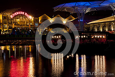Clarke Quay riverside point at night Editorial Photography