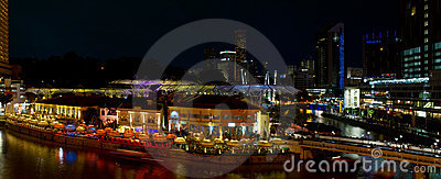 Clarke Quay Singapore Night Scene Panorama