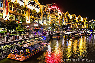 Clarke Quay at Singapore River Editorial Photo