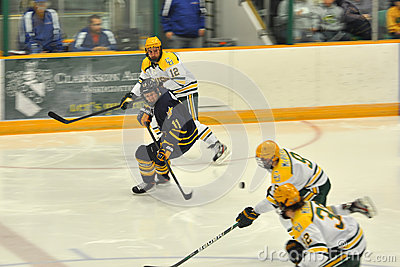 Clarkson players in NCAA Hockey Game Editorial Stock Photo