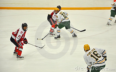 Clarkson University player in NCAA Hockey Game Editorial Stock Image