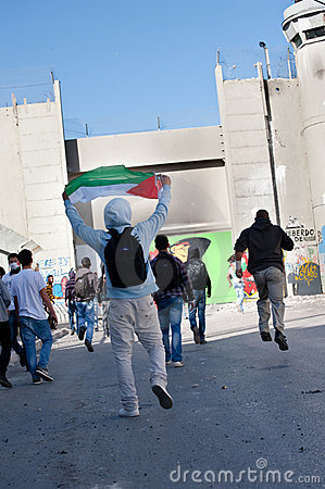 Clash at Bethlehem Separation Wall Editorial Stock Photo
