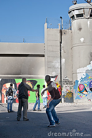 Clash at Bethlehem Separation Wall Editorial Image