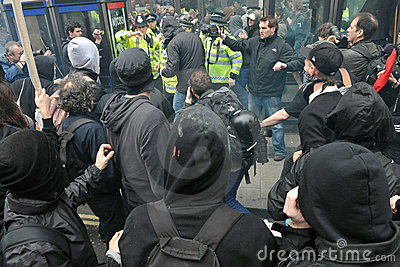 Clashes at an Austerity Rally in London Editorial Stock Image