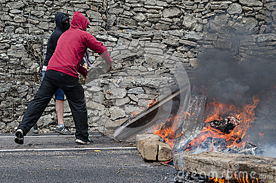 Clashes between miners and anti riot police Editorial Photo
