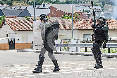 Clashes between miners and anti riot police Editorial Stock Photo