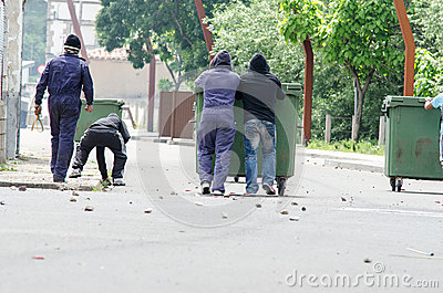 Clashes between miners and anti riot police Editorial Image