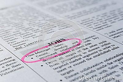 Clasified ad - job hunting