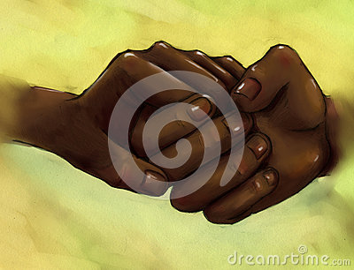 Clasped hands - people with dark skin