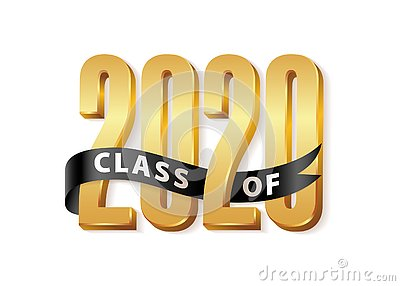 Class of 2020 Gold Lettering Graduation 3d logo with black ribbon. Graduate design yearbook Vector illustration Vector Illustration