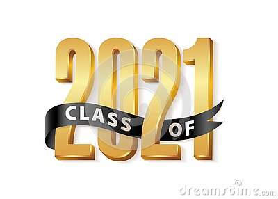 Class of 2021 Gold Lettering Graduation 3d logo with black ribbon. Graduate design yearbook Vector illustration Vector Illustration
