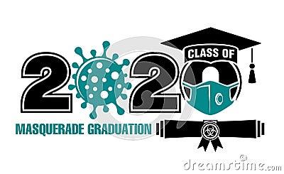 2020 class extreme masquerade graduation Vector Illustration