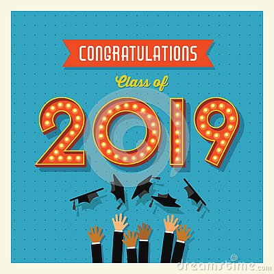 Free Class Of 2019 Graduation Card Or Banner Design Royalty Free Stock Photography - 145356077