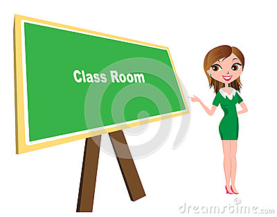 Class room with board and teacher