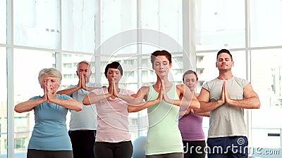 Classe de yoga faisant la pose d'arbre ensemble