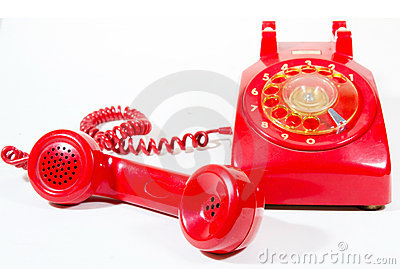 Classic 1970 - 1980 retro dial style red house tel