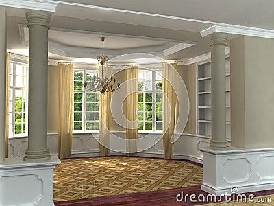Classic 3D luxurious interior