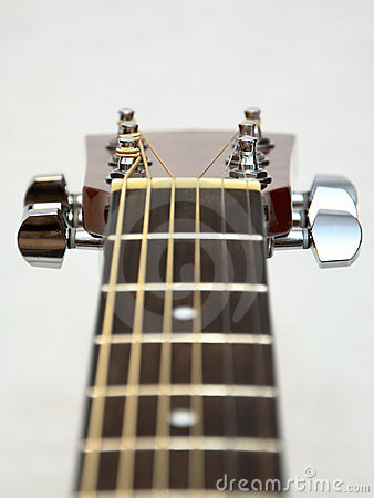Classic acoustic guitar headstock: pegs, keys
