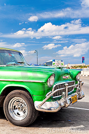 Classic american car parked in Havana Editorial Photo