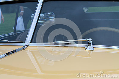Classic American car split windshield close up view