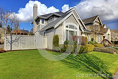 classic american house during spring stock images image