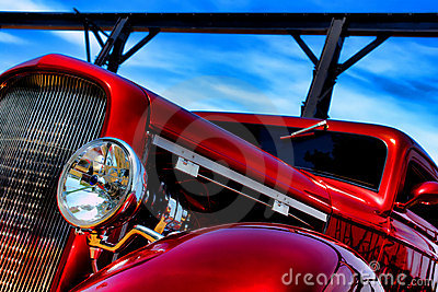Classic American Red Hot Rod Speeding