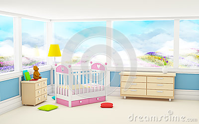 Classic baby room panoramic window Cartoon Illustration
