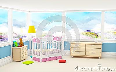 Classic baby room panoramic window Cartoon Illustration