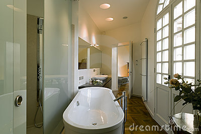 Classic bathroom near a bedroom