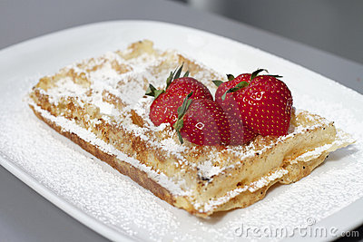 Classic Belgian Waffle and red strawberries