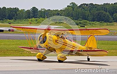 Classic biplane landing
