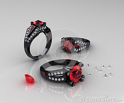 Classic Black Gold Ruby Diamond Engagement Rings