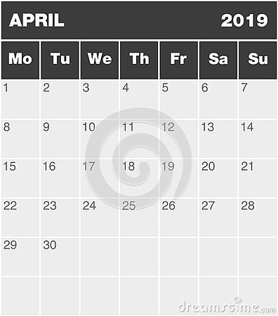 Free Classic Blank Month Greyscale Planning Calendar - April 2019 Stock Photos - 129483673