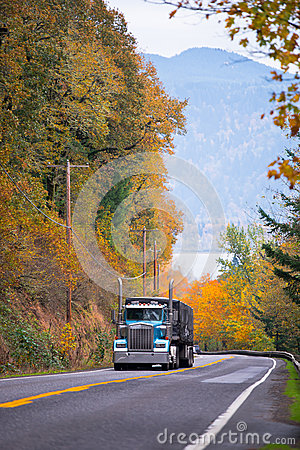 Free Classic Blue Semi Truck High Chrome Pipes On Spectacular Road Royalty Free Stock Photography - 47421187