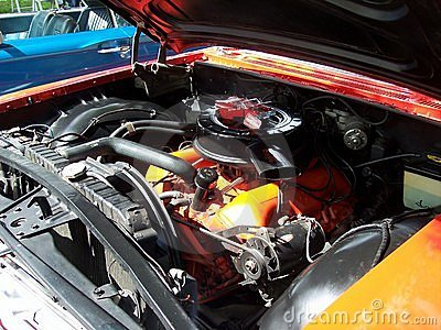 Classic Car 1960 Chevy Impala Engine Editorial Image