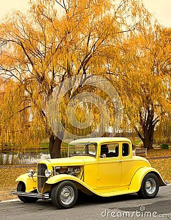 classic car on autumn day