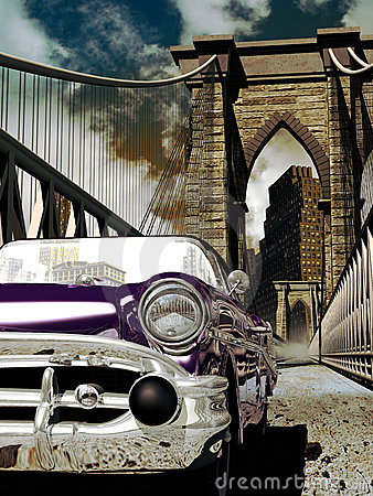 Classic car on the Brooklyn bridge